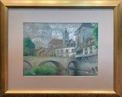 Albert Van Nesse Greene, Laundry Day in Paris, Pastel on Paper