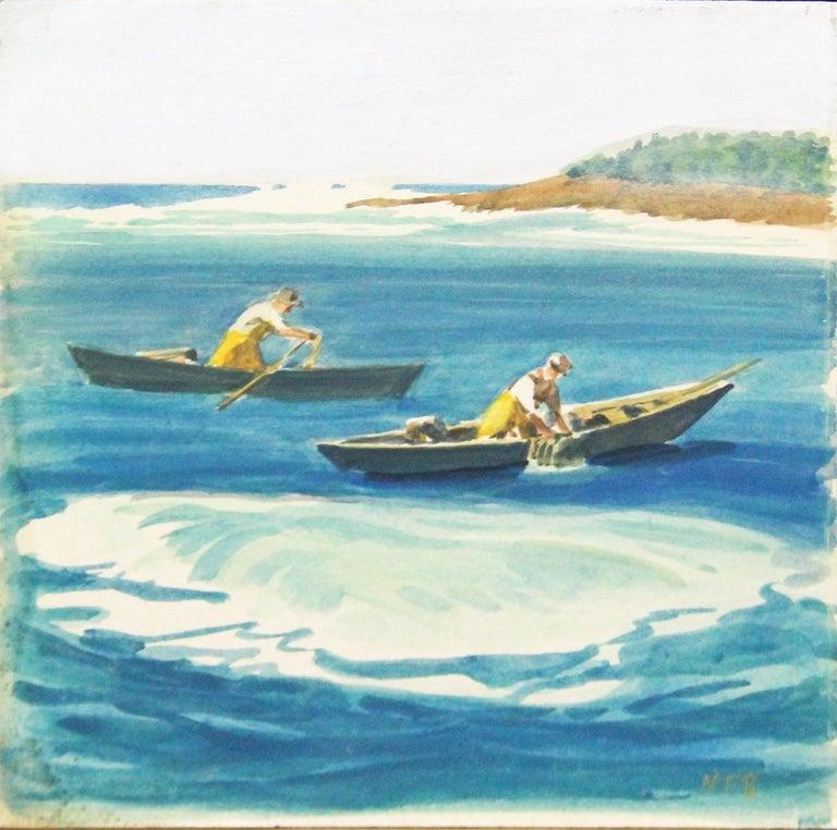 Nathaniel Beacham, Lobstermen, Watercolor, ca. 1940 - American Impressionist Art by Nathaniel Beacham
