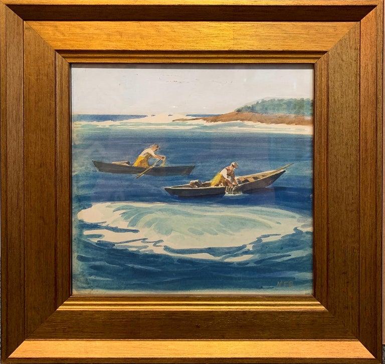 Nathaniel Beacham, Lobstermen, Watercolor, ca. 1940 - Art by Nathaniel Beacham