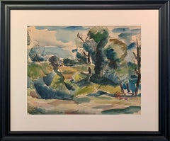 "Leon Kelly, ""Landscape"", Modern Art, Watercolor, 1926, Signed"