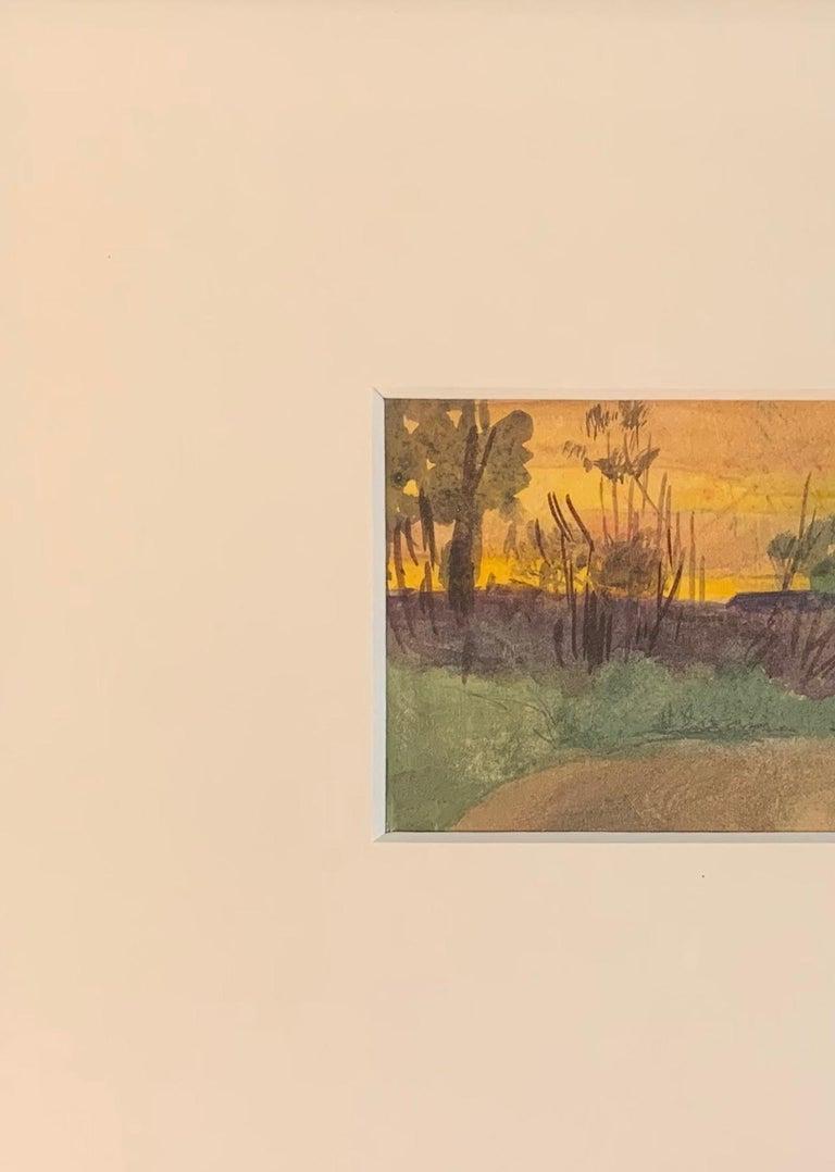 Henry Snell, Sunset Landscape, Watercolor, 1899 - Art by Henry Bayley Snell