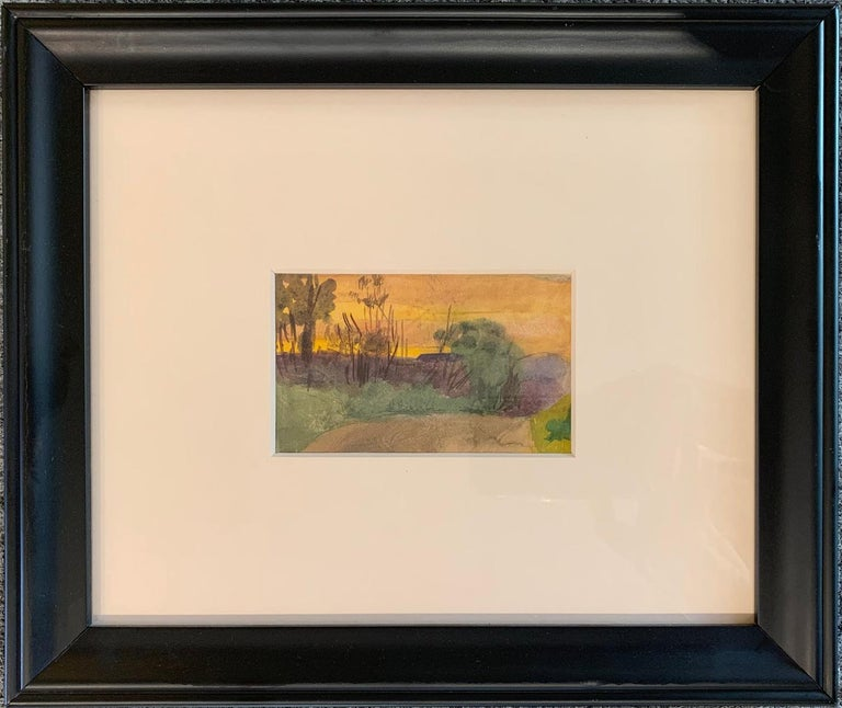 Henry Snell, Sunset Landscape, Watercolor, 1899 - Impressionist Art by Henry Bayley Snell
