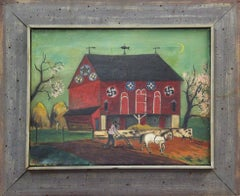 "David Ellinger, ""Spring Plowing"", Oil on Canvas, Signed, American Folk Art"