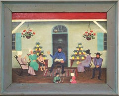 "David Ellinger, ""Day of Rest"", Oil on Canvas, Signed, American Folk Art"