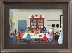 "David Ellinger, ""Love Feast"", Oil on Canvas, Signed, American Folk Art"