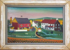 "David Ellinger, ""Blue Hills"", Oil on Panel, Signed, American Folk Art"