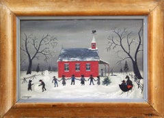 "David Ellinger, ""Amish School"", Oil on Canvas, Signed, American Folk Art"