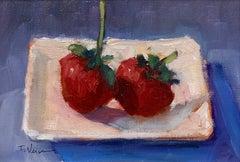 Trisha Vergis, Original Oil on Canvas, Two Strawberries, 2017