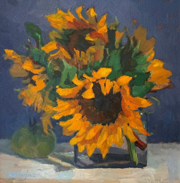 Trisha Vergis, Original Oil on Canvas, Sunflowers and Green Tomato - Realist Painting by Trisha Vergis