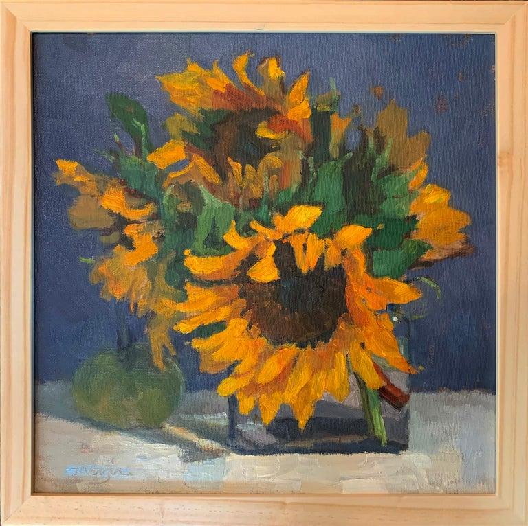 Trisha Vergis, Original Oil on Canvas, Sunflowers and Green Tomato - Painting by Trisha Vergis
