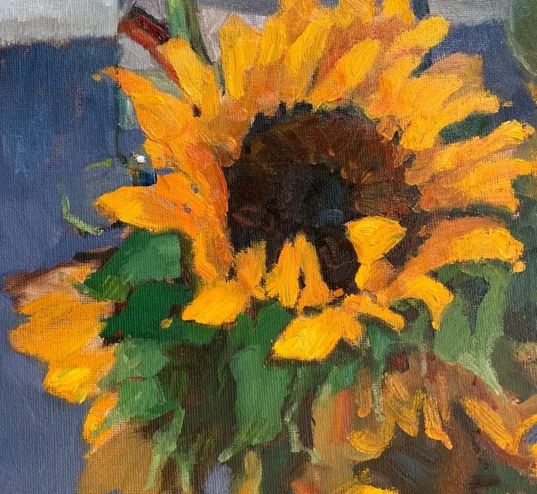 Trisha Vergis, Original Oil on Canvas, Sunflowers and Green Tomato - Gray Still-Life Painting by Trisha Vergis