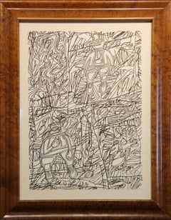 Jean DuBuffet, Site aux Figurines, Black Marker and Collage, Signed and Dated