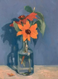 Trisha Vergis, Original Oil on Canvas, Echinacea and Basil
