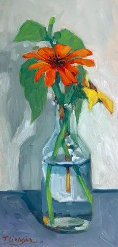 Trisha Vergis, Original Oil on Canvas, Echinacea and Basil 2