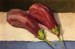 Trisha Vergis, Original Oil on Canvas, Two Eggplant