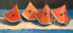 Trisha Vergis, Original Oil on Canvas Board, End of the Season Watermelons