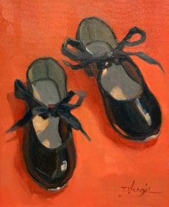 Trisha Vergis, Original Oil on Canvas, Little Black Tap Shoes 2