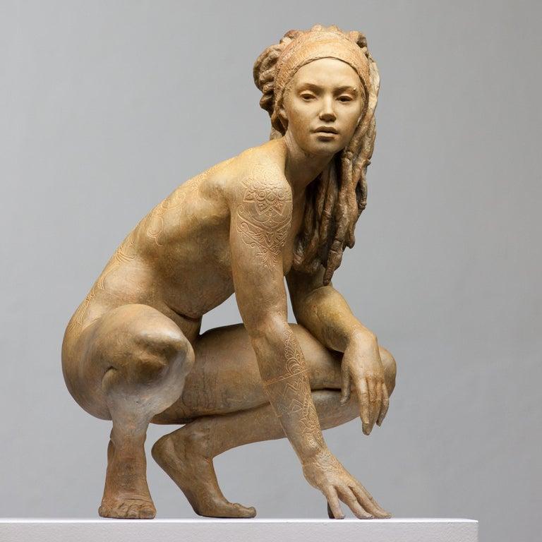 Walking In Beauty - Modern, 21st Century, Bronze, Figurative Sculpture For Sale 1