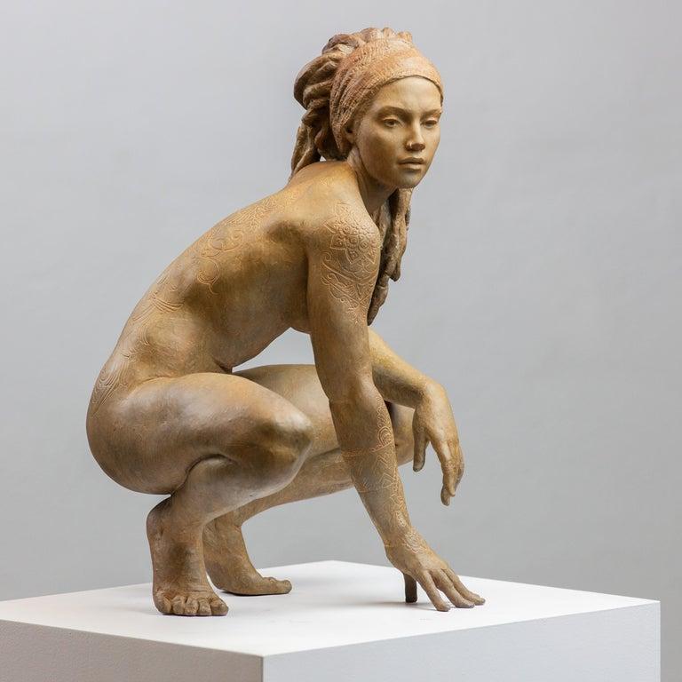Walking In Beauty - Modern, 21st Century, Bronze, Figurative Sculpture For Sale 3