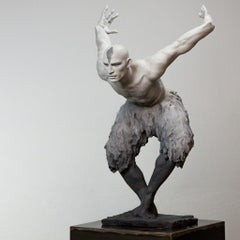 The Flight of the Swan - Modern, 21st Century, Bronze, Figurative Sculpture