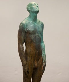 Man in the Rain - Modern, 21st Century, Bronze, Figurative Sculpture