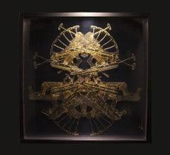 Postcolombino 28 , 21century, modern, object, gold leaf, arms, AK47