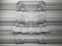 Reflection IV ,  21st century, modern, b/w drawing, nude, woman, erotic