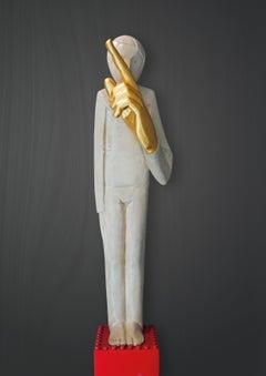 Schweigen ist Gold, 21st century, modern, gold, masculine, bronze