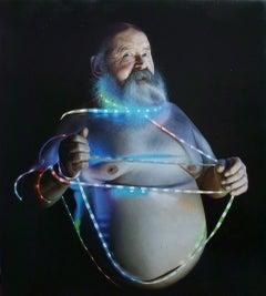 Laoconte Painting, 21st century, modern, portrait, man, beard, lights