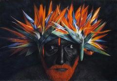 Papagay Passion, 21st century, modern, portrait, flowers