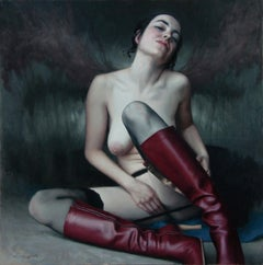 RED BOOTS ONE, 21st century, modern, nude, elegance, women, boots