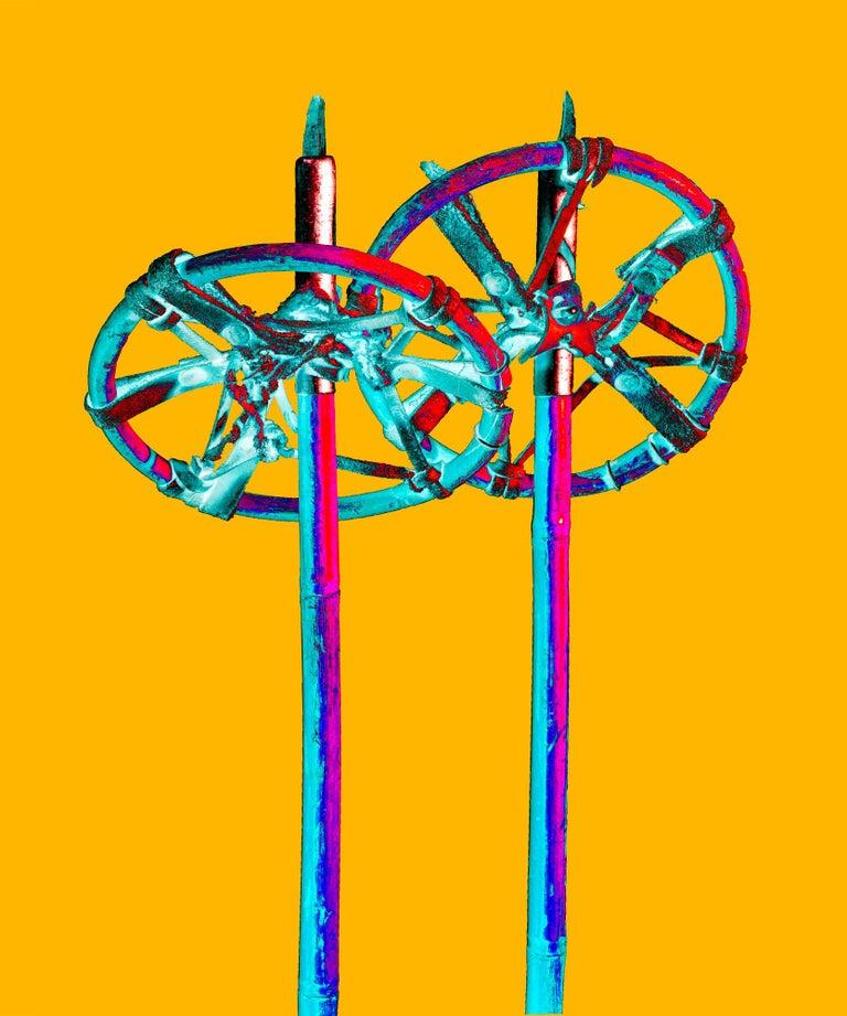 Stefano Zardini Color Photograph - THE SPARKLANG ALPS ICONS Nr. 21, Ski Sticks