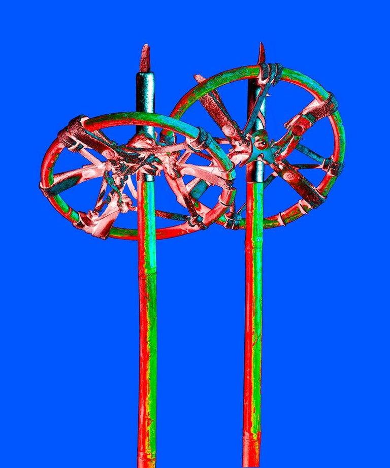 Stefano Zardini Color Photograph - THE SPARKLANG ALPS ICONS Nr. 20, Ski Sticks,