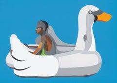 Boy on Swan Float