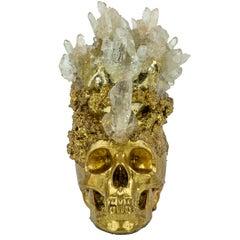 Gold Crystal Quartz Skull Sculpture, Sarah Raskey.