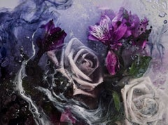 In The Gardens Of Cheshire by Sarah Raskey. Purple and white floral. Photography