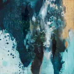 Promise of a New Morning, Sarah Raskey. Green and blue. Mixed media on canvas