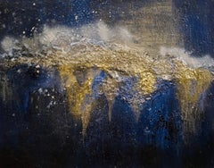 Pyrite Map, Sarah Raskey. Blue and gold. Mixed media on canvas