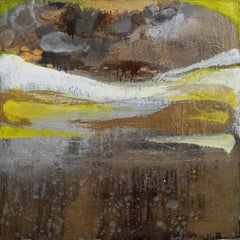 Wisteria and Citron, Sarah Raskey. Yellow and brown. Mixed media on canvas
