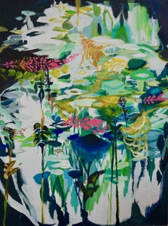 Rise Within, Sarah Raskey. Green and black multicolor. Mixed media on canvas