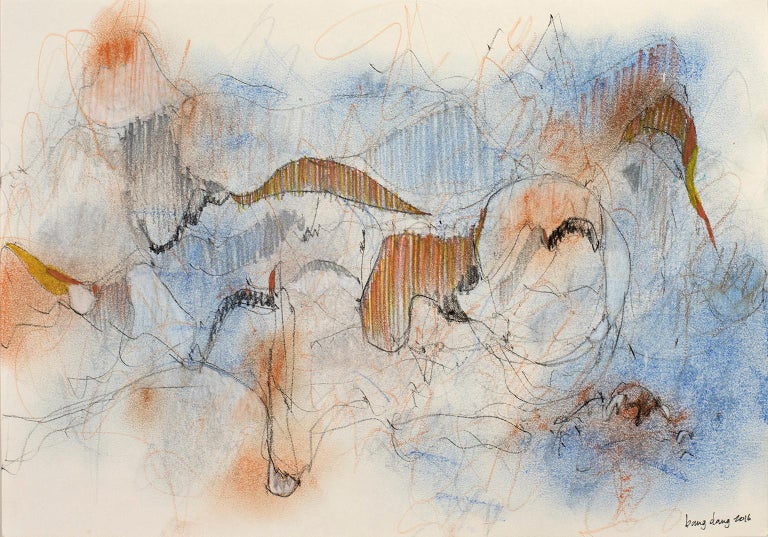 Dancing Lines with Blue Orange, 2016, abstract mixed media on paper by Bang Dang For Sale 1