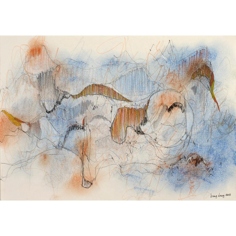 Dancing Lines with Blue Orange by Bang Dang 8 x 12 in unframed Watercolor, ink, color pencil, pastel, graphite and gesso on paper.  Bang Dang's work is a form of meditation apart from his work as an architect. It features intricate line work offset