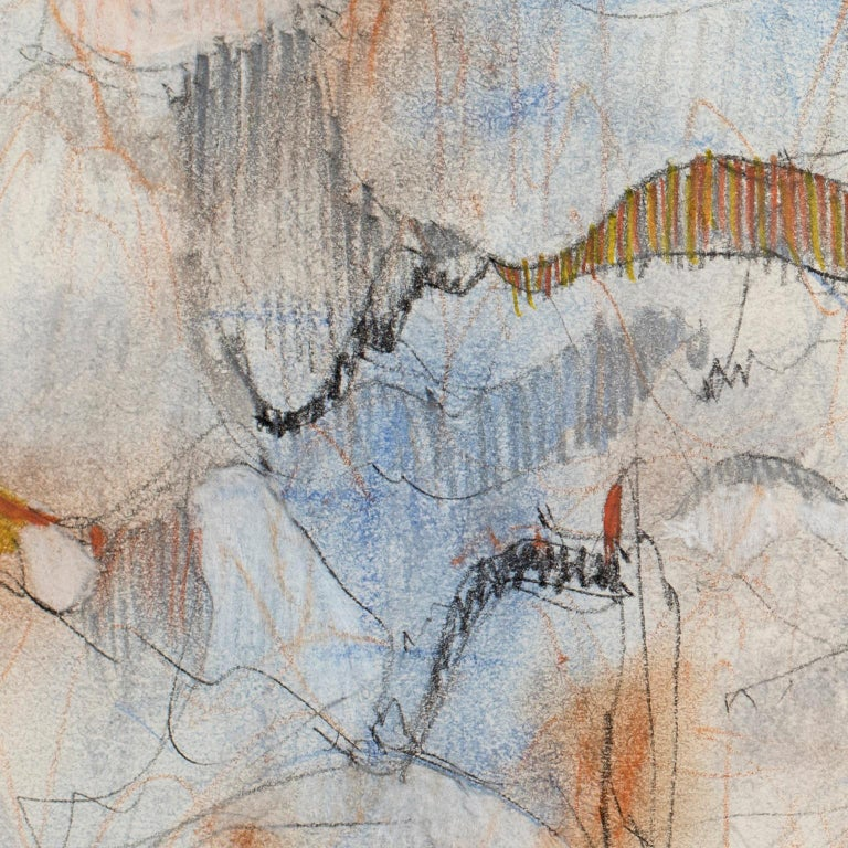 Dancing Lines with Blue Orange, 2016, abstract mixed media on paper by Bang Dang For Sale 2