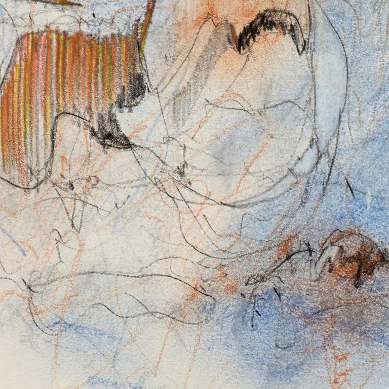 Dancing Lines with Blue Orange, 2016, abstract mixed media on paper by Bang Dang For Sale 3