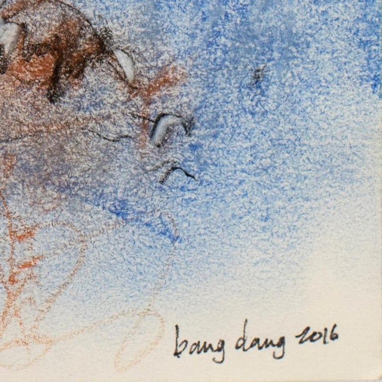 Dancing Lines with Blue Orange, 2016, abstract mixed media on paper by Bang Dang For Sale 4