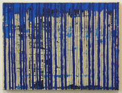 Untitled Blue Stripes, 2004, ink and acrylic on canvas, by Ann Chisholm.