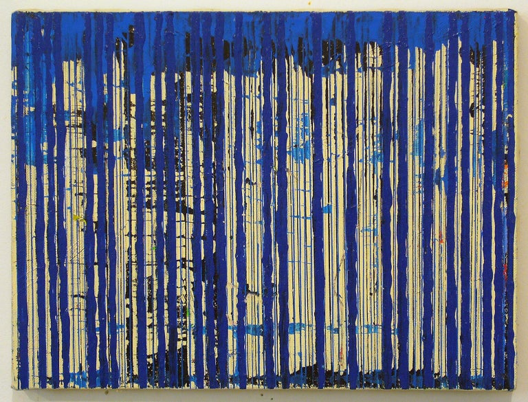 Untitled Blue Stripes by Ann Chisholm. Mixed media Ink and acrylic on canvas.   Communication or communicating is a theme in Ann Chisholm's work, especially in the collages. She uses words, numbers, and symbols to give visual hints. Morse Code is an