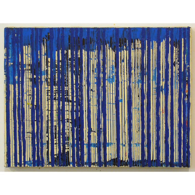 Untitled Blue Stripes, 2004, ink and acrylic on canvas, by Ann Chisholm.  For Sale 1