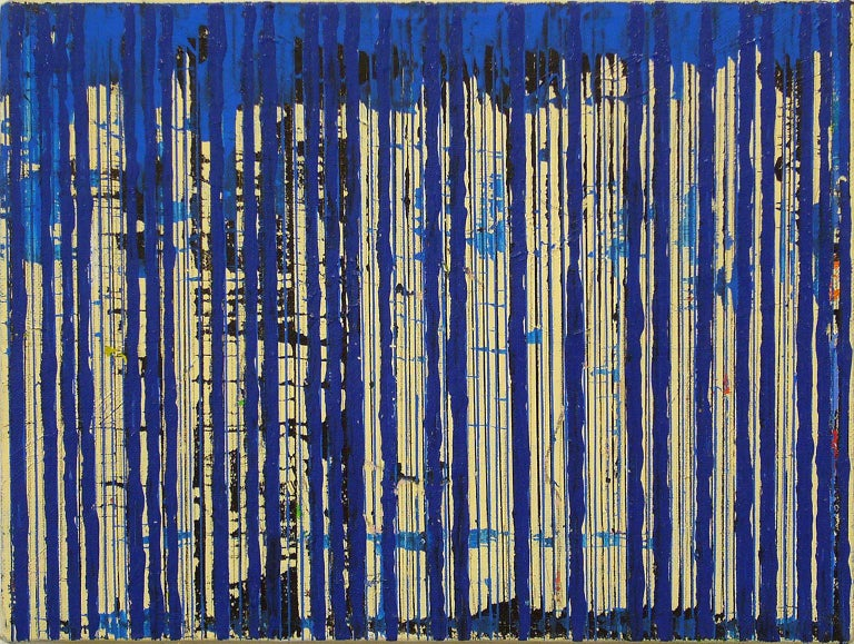 Untitled Blue Stripes, 2004, ink and acrylic on canvas, by Ann Chisholm.  For Sale 2