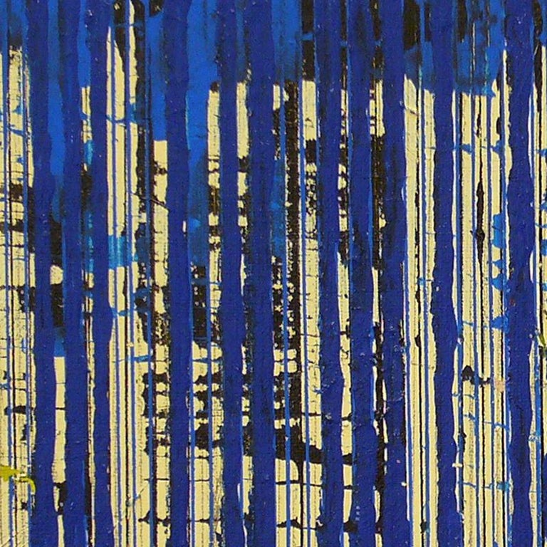 Untitled Blue Stripes, 2004, ink and acrylic on canvas, by Ann Chisholm.  For Sale 3